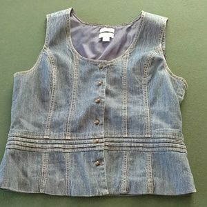 Christopher and Banks blue jean vest XL